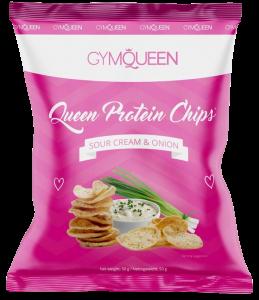Gym Queen Protein Chips in einer rosa Verpackung.