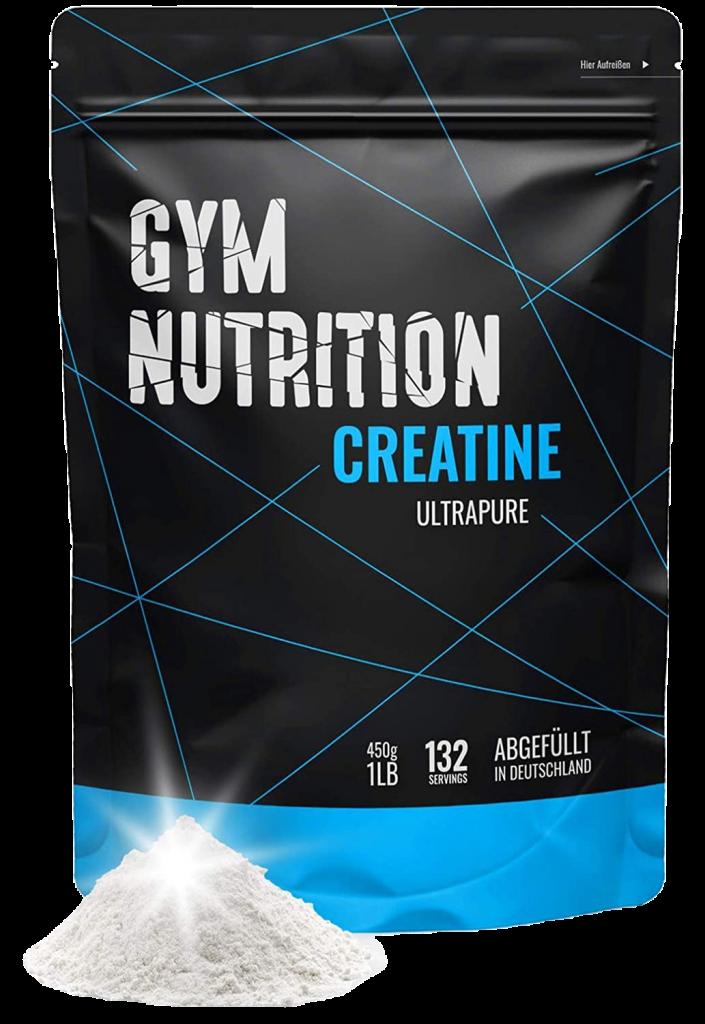 Gym Nutrition Creatin Pulver in einer schwarzen Verpackung