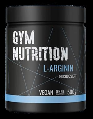 Gym Nutrition L-Arginin in einer schwarzen Verpackung