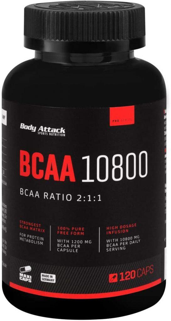 BCAA Kapseln von Body Attack in einer schwarzen BCAA Dose