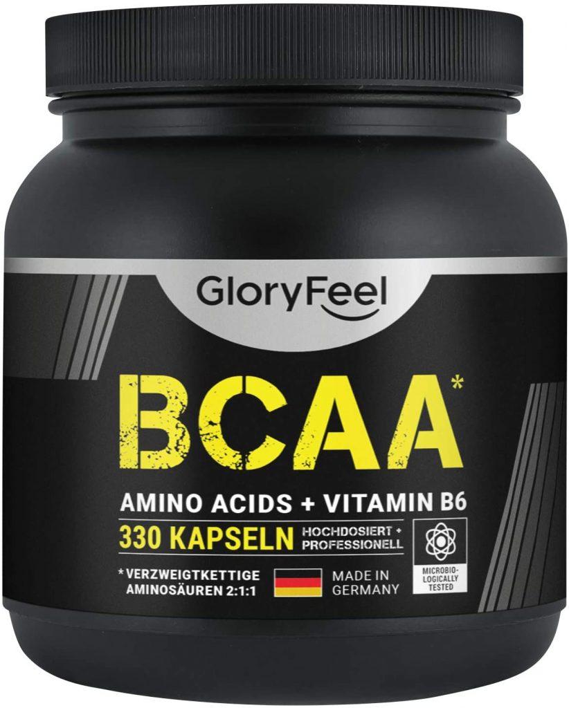 BCAA Kapseln von Glory Feel in einer schwarzen BCAA Dose