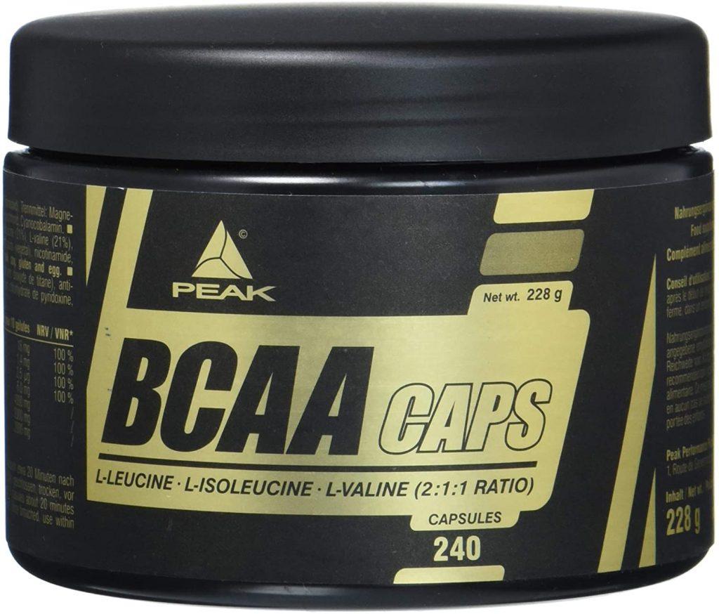 Peak BCAA Kapseln in einer schwarzen Dose