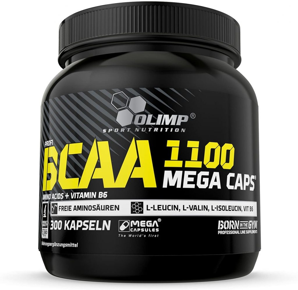 BCAA Kapseln von Olimp in einer schwarzen BCAA Dose